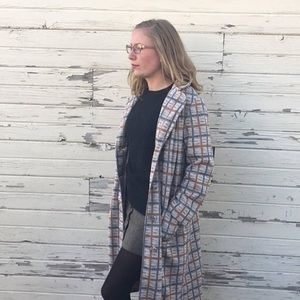 1960s plaid trench coat